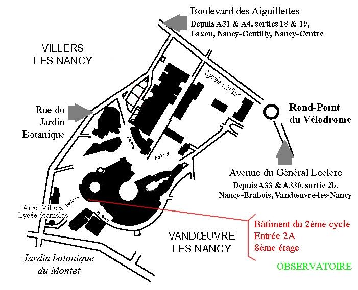 Plan d'accès à l'intérieur de la faculté des sciences et techniques