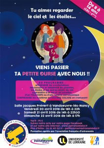 Affiche stage Petite Ourse avril 2018
