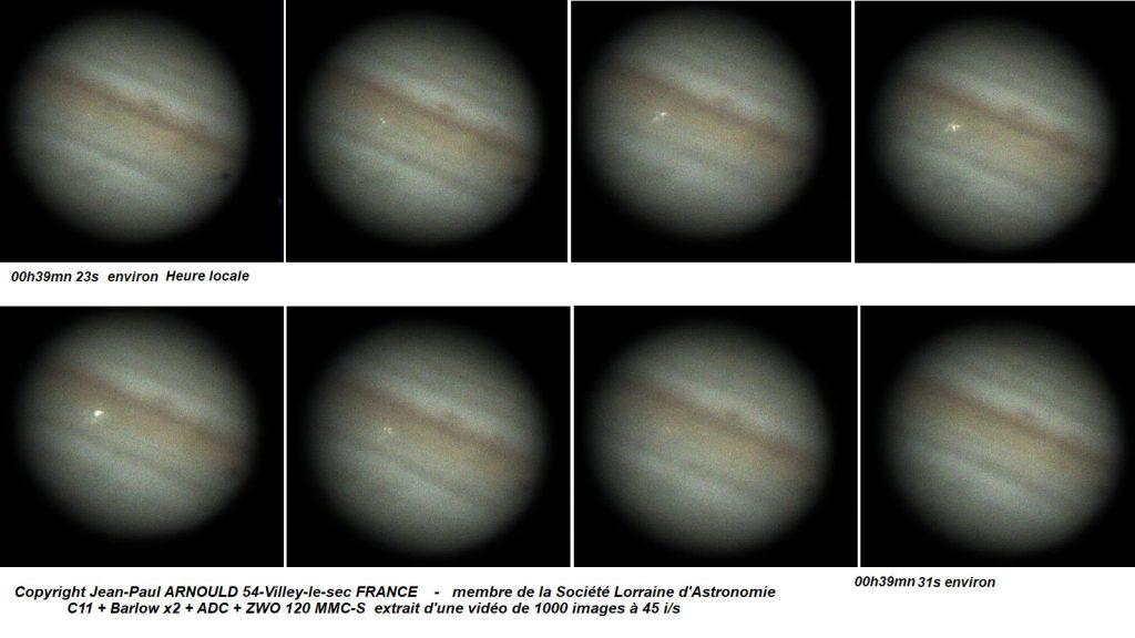 La série d'images de Jupiter prises par Jean-Paul Arnould
