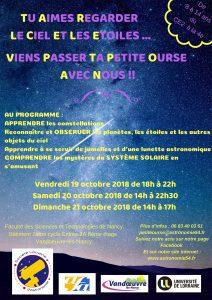Affiche du stage Petite Ourse d'octobre 2018