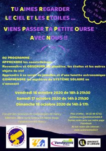 Affiche stage Petite ourse octobre 2020