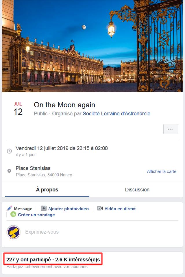 La portée de l'événement sur Facebook