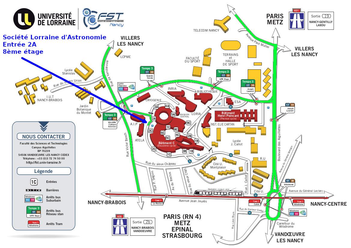 Plan du campus sciences de nancy annoté