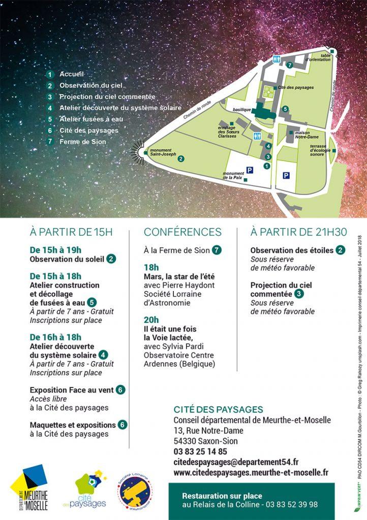 Programme et plan de la Nuit des étoiles 2018