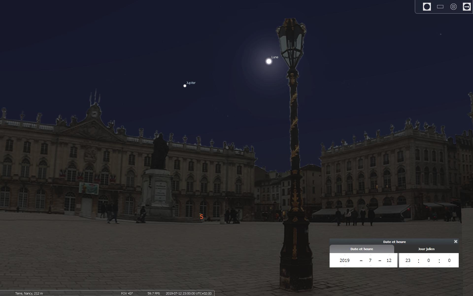 Le ciel que nous devrions voir depuis la place Stan le 12 juillet 2019 - Simulation avec le logiciel Stellarium
